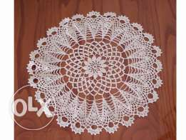 Hand made crochet table top, light beige