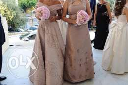 haute couture tailored made wedding gown and 2 bride maids dresses