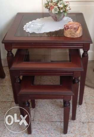Set of 3 side tables -only 130$ أشرفية -  2