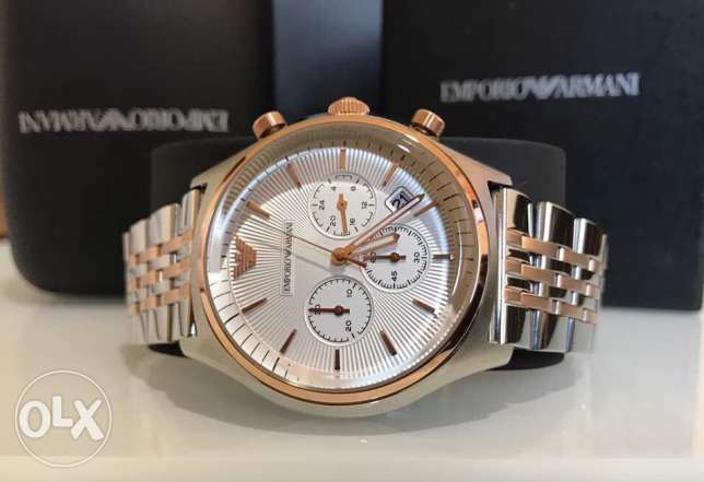 Emporio Armani Men's classy edition white and rose gold